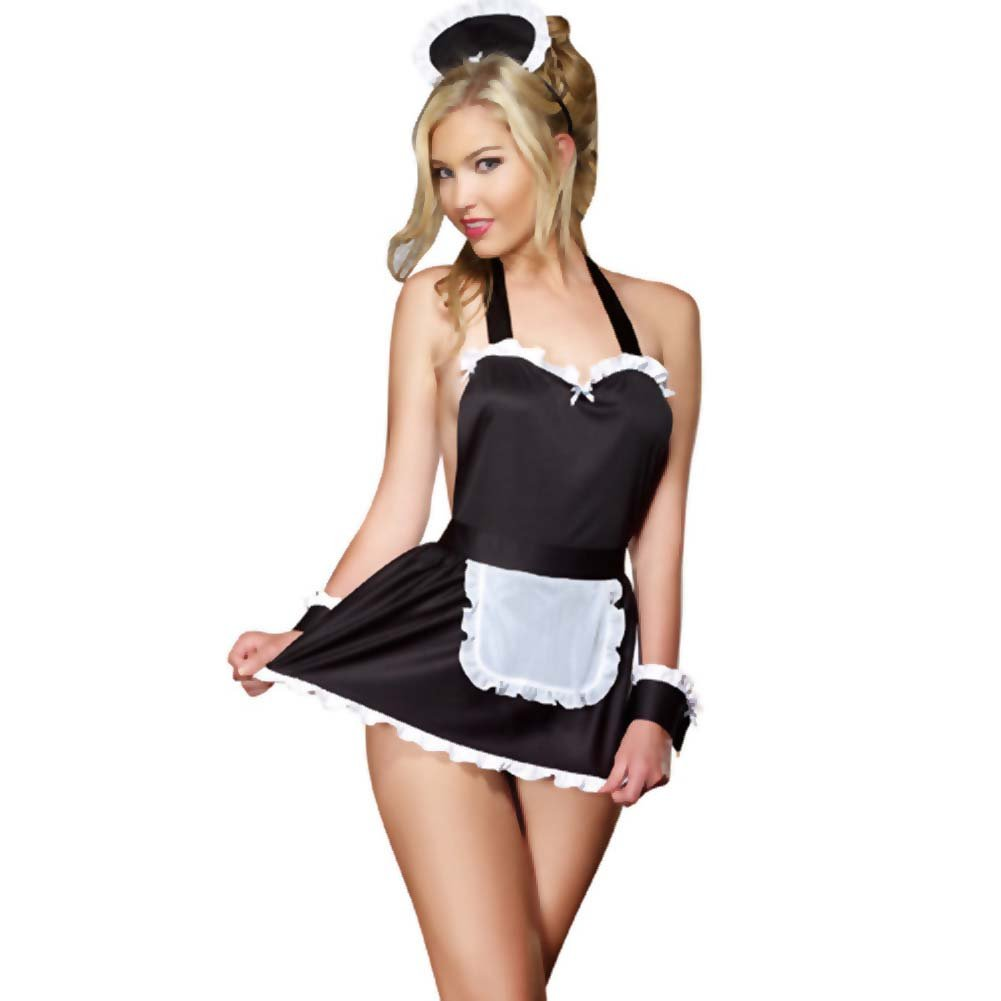 4 Pc Maid Me Dirty Apron Maid Cap French Cuffs Panty One Size Black - View #1