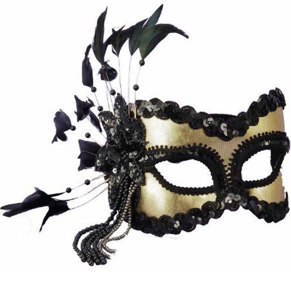 Karneval Half Mask with Feathers Beads Black/Gold - View #1