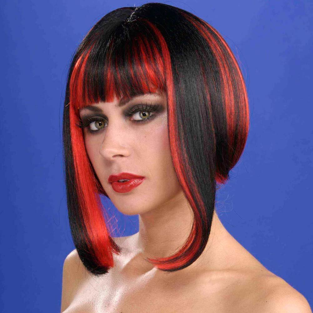 Vixen Wig Black with Red Streaks - View #1