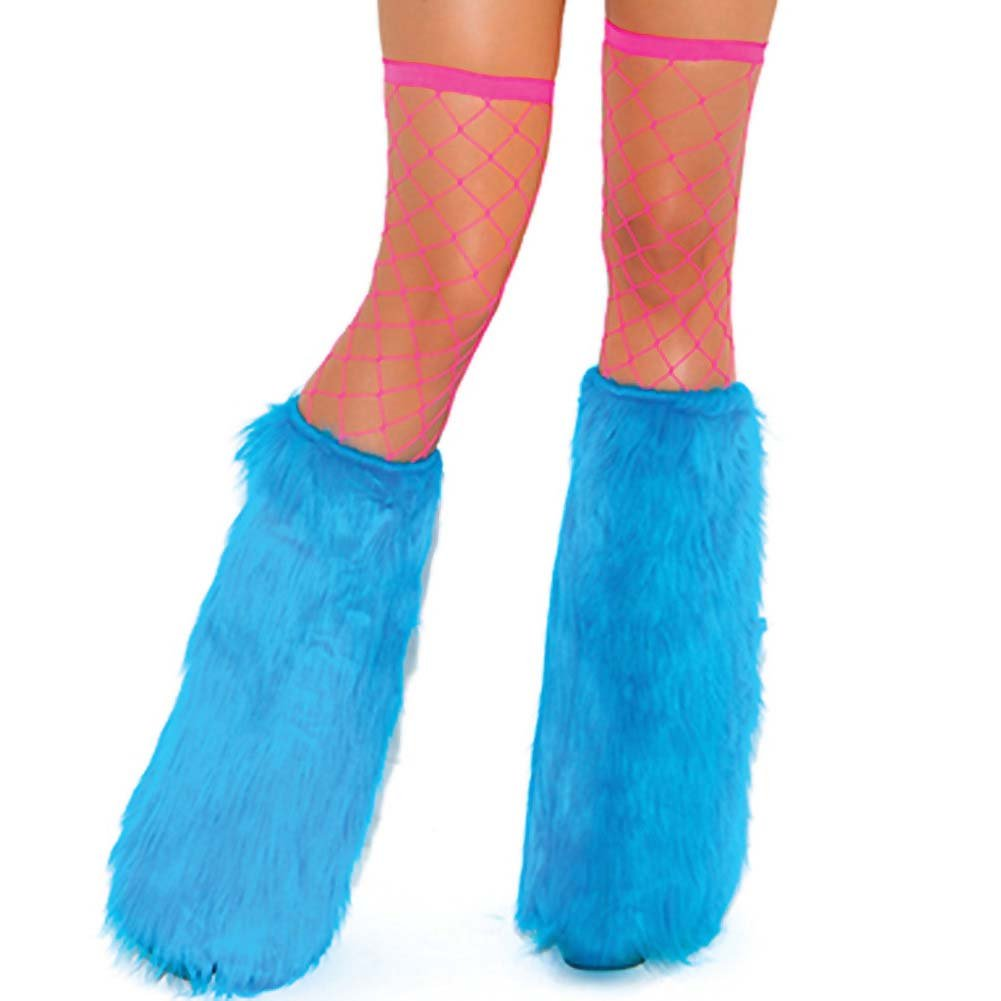 Neon Nites Furry Boot Covers One Size Neon Blue - View #1