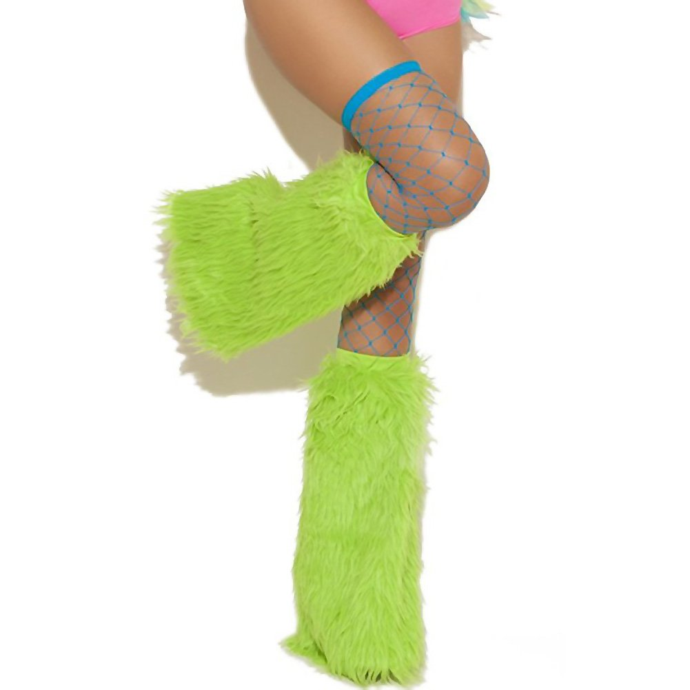 Neon Nites Furry Boot Covers One Size Neon Green - View #2