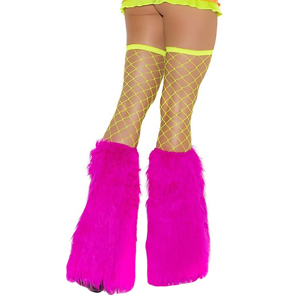 Neon Nites Furry Boot Covers One Size Neon Pink - View #1