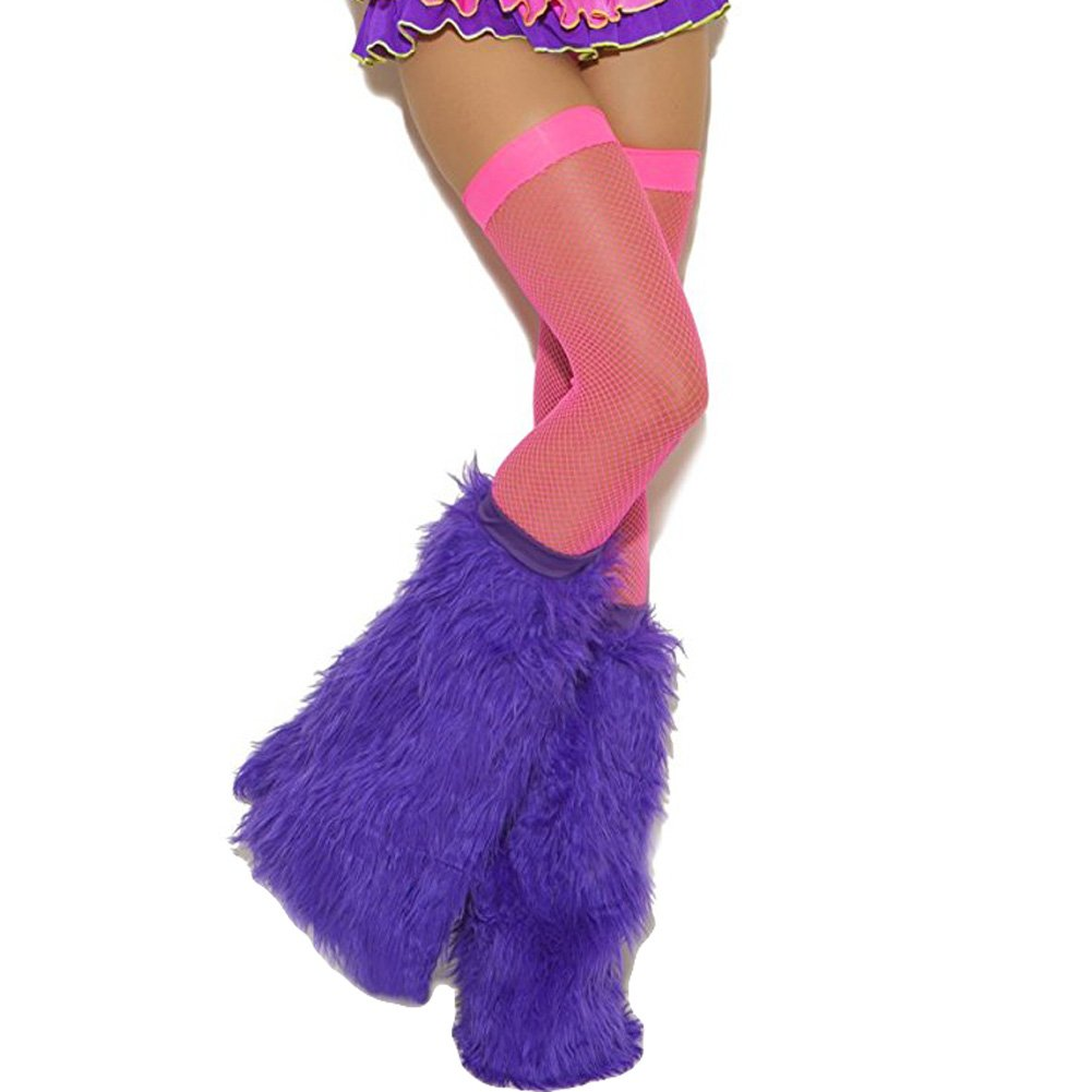 Neon Nites Furry Boot Covers One Size Neon Purple - View #2