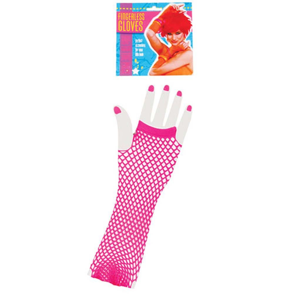 Neon Long Fingerless Fishnet Gloves - Pink - View #1