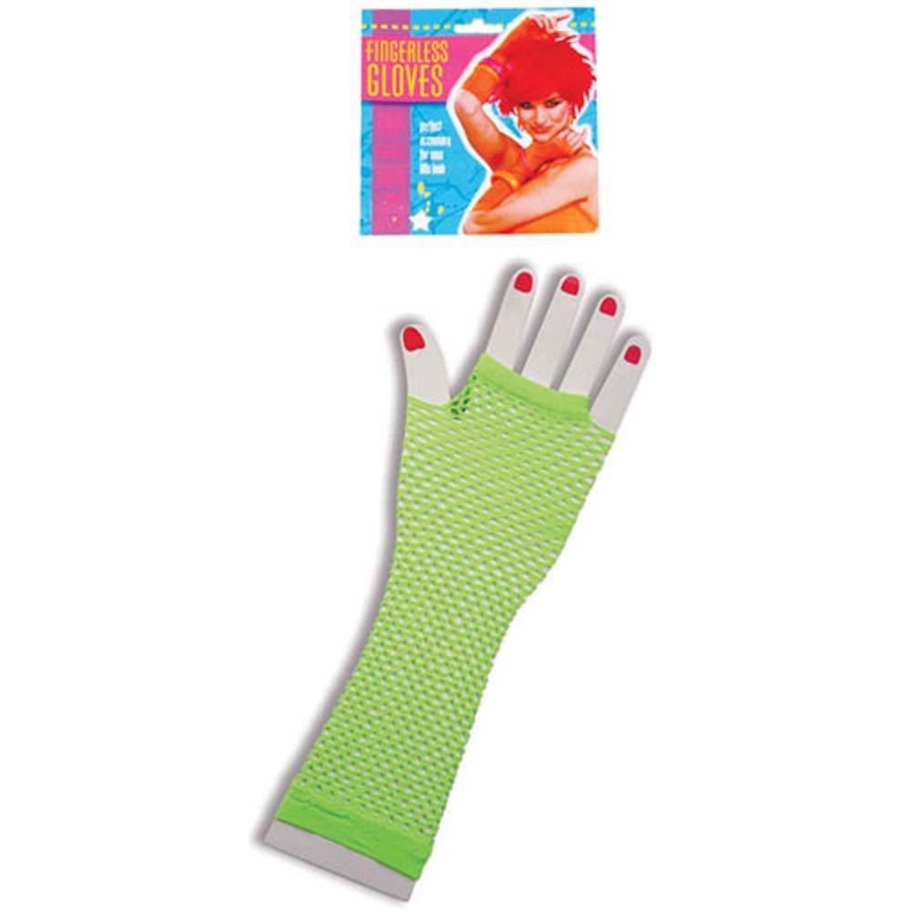 Neon Long Fingerless Fishnet Gloves - Green - View #1