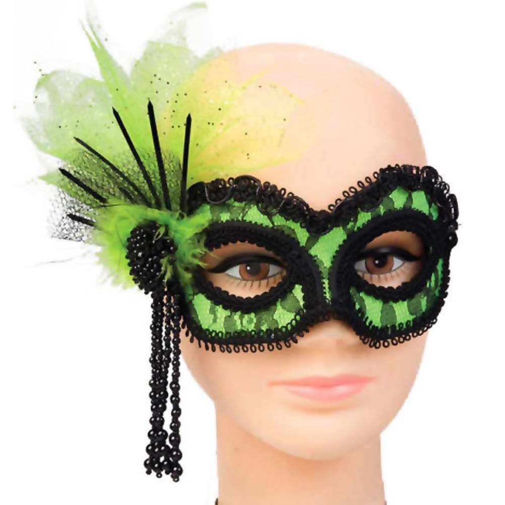 Neon Lace Mask - Green - View #1