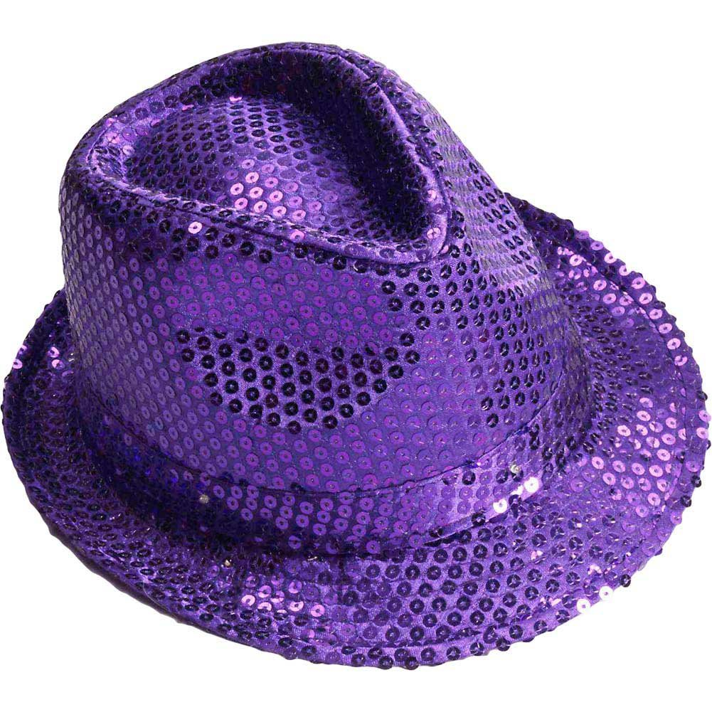 Sequined Fedora W/Lights - Purple - View #1