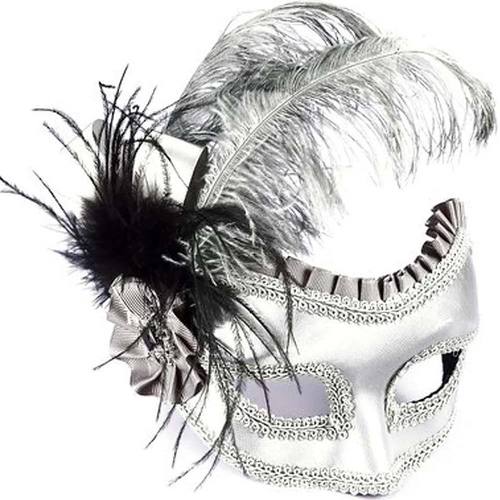 Venetian Satin Feather Half Mask. Silver - View #1