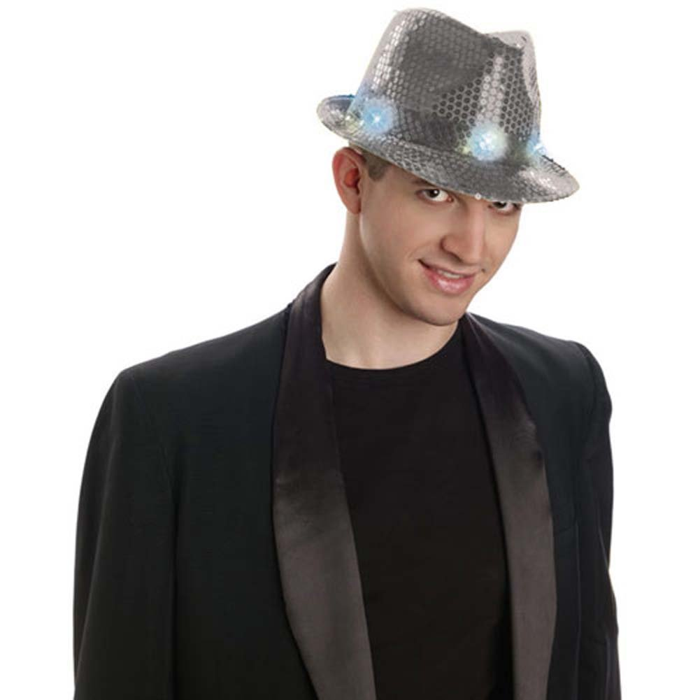 Sequined Fedora W/Lights - Silver - View #1