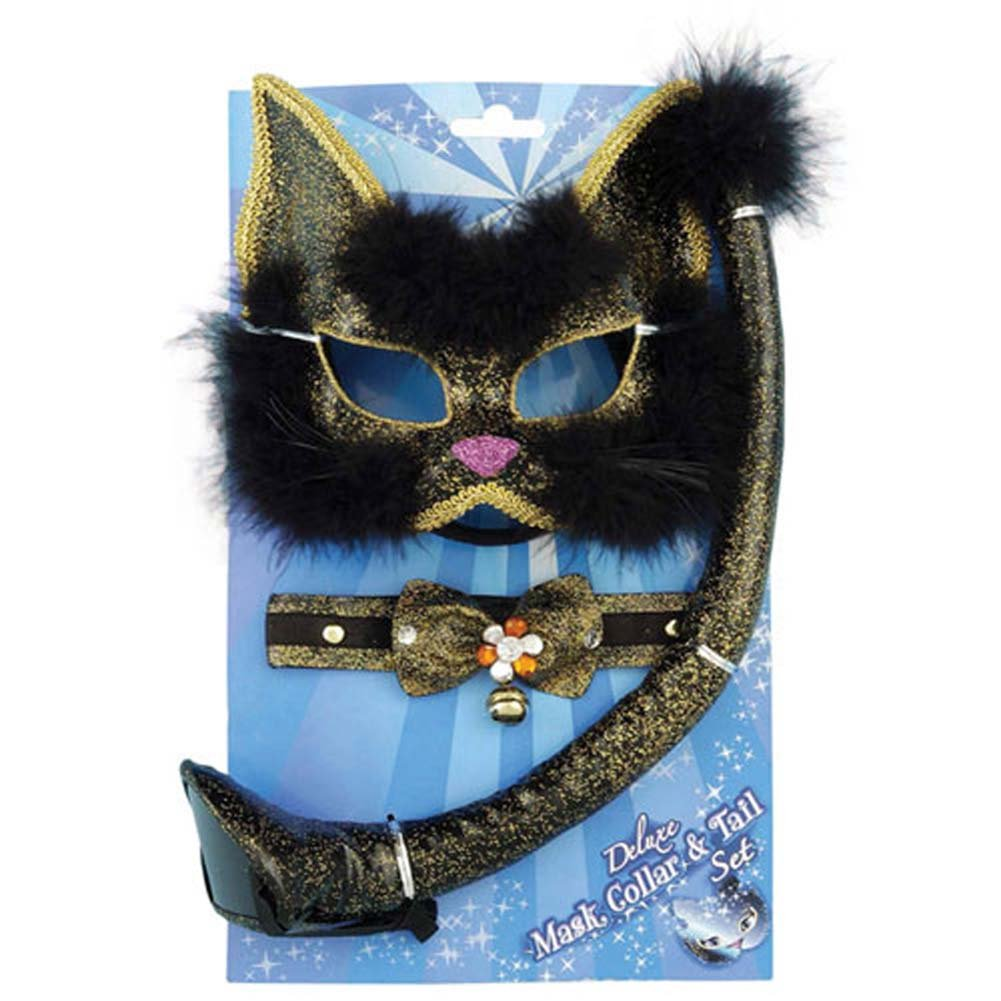 Deluxe Black Glitter Cat Mask Set - View #1