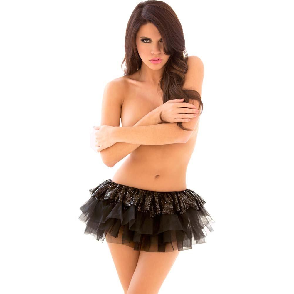 Pink Lipstick Tutu Sequin Skirt One Size Black - View #1
