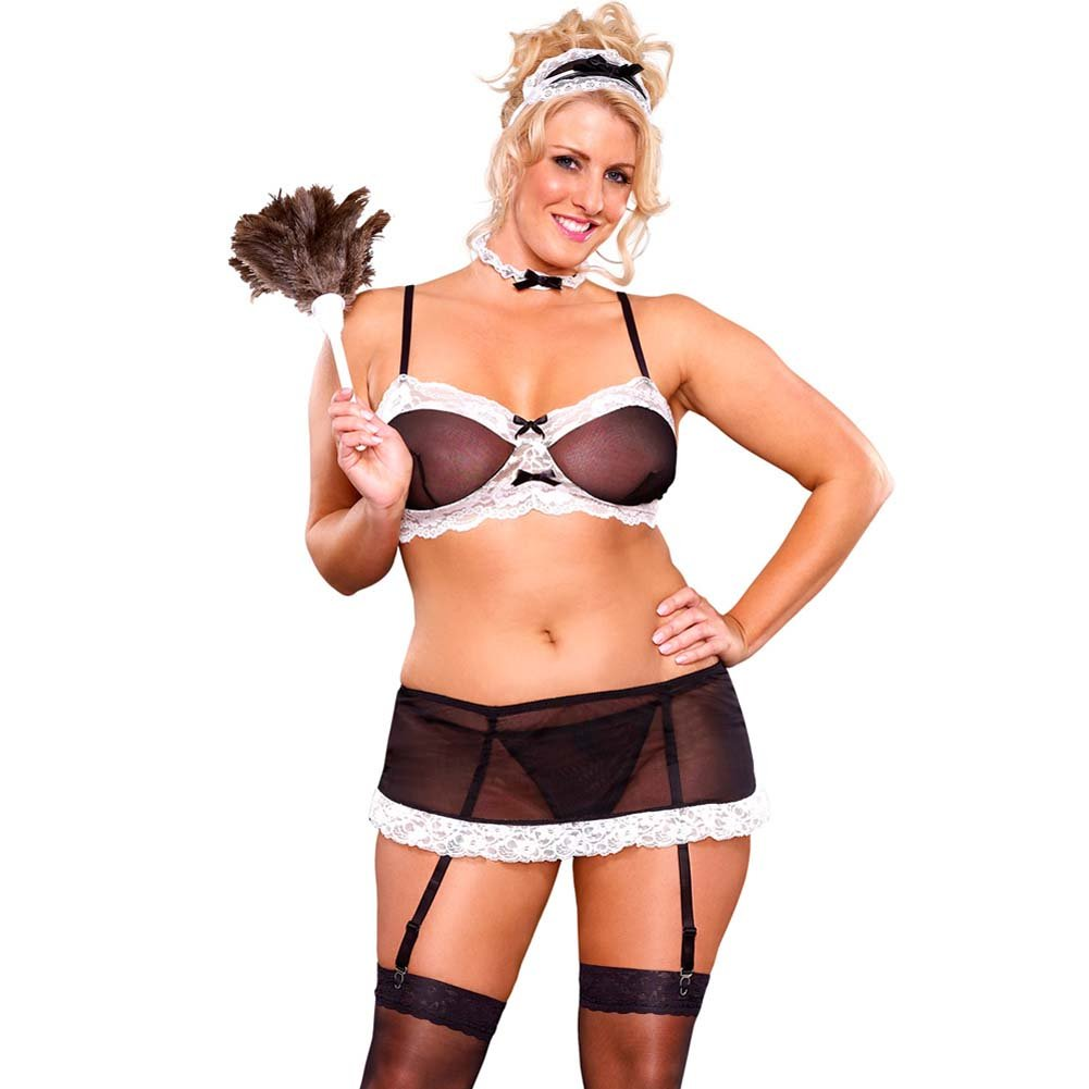 French Maid Kinky Costume 2 Piece Set Plus Size Queen Black - View #1