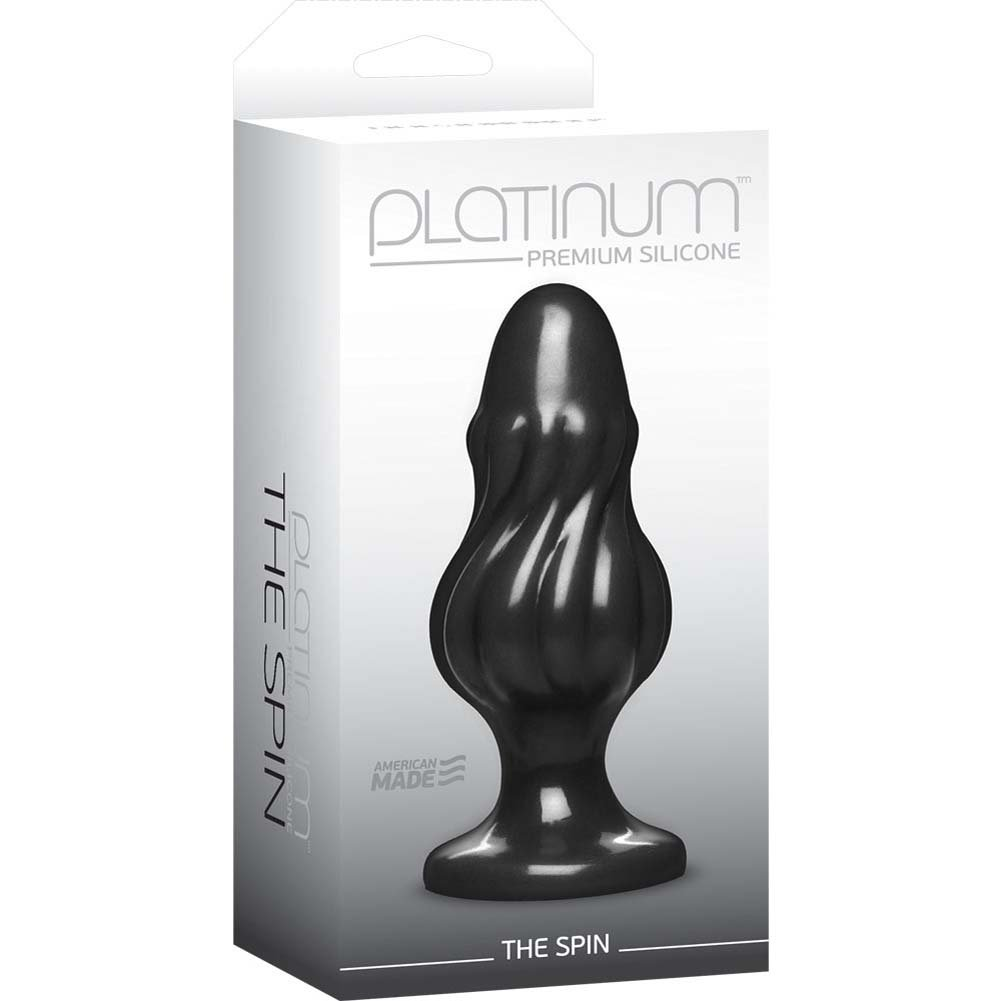 "Platinum Premium Silicone The Spin Butt Plug 5"" Black - View #1"