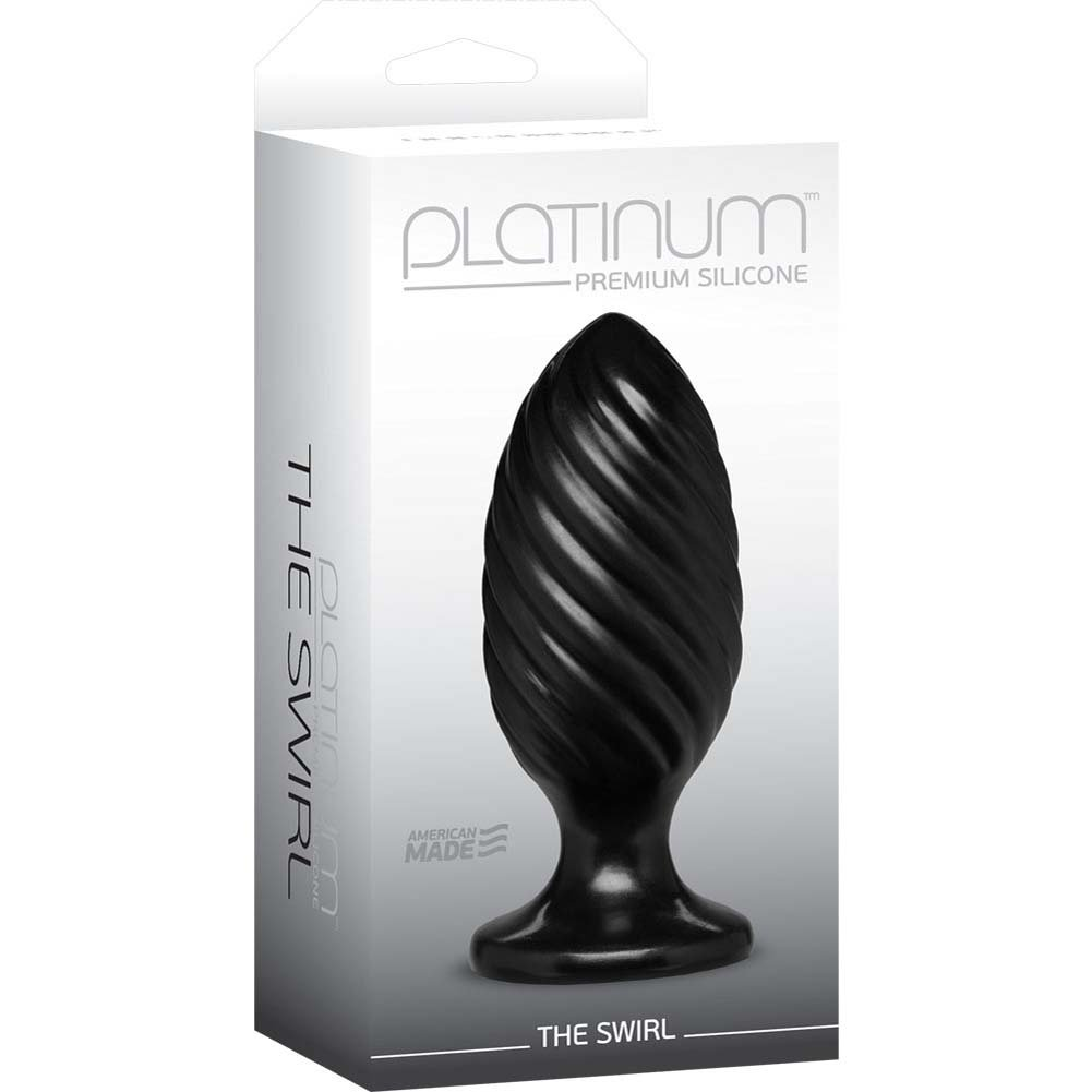 "Platinum Premium Silicone The Swirl Butt Plug 5"" Black - View #1"