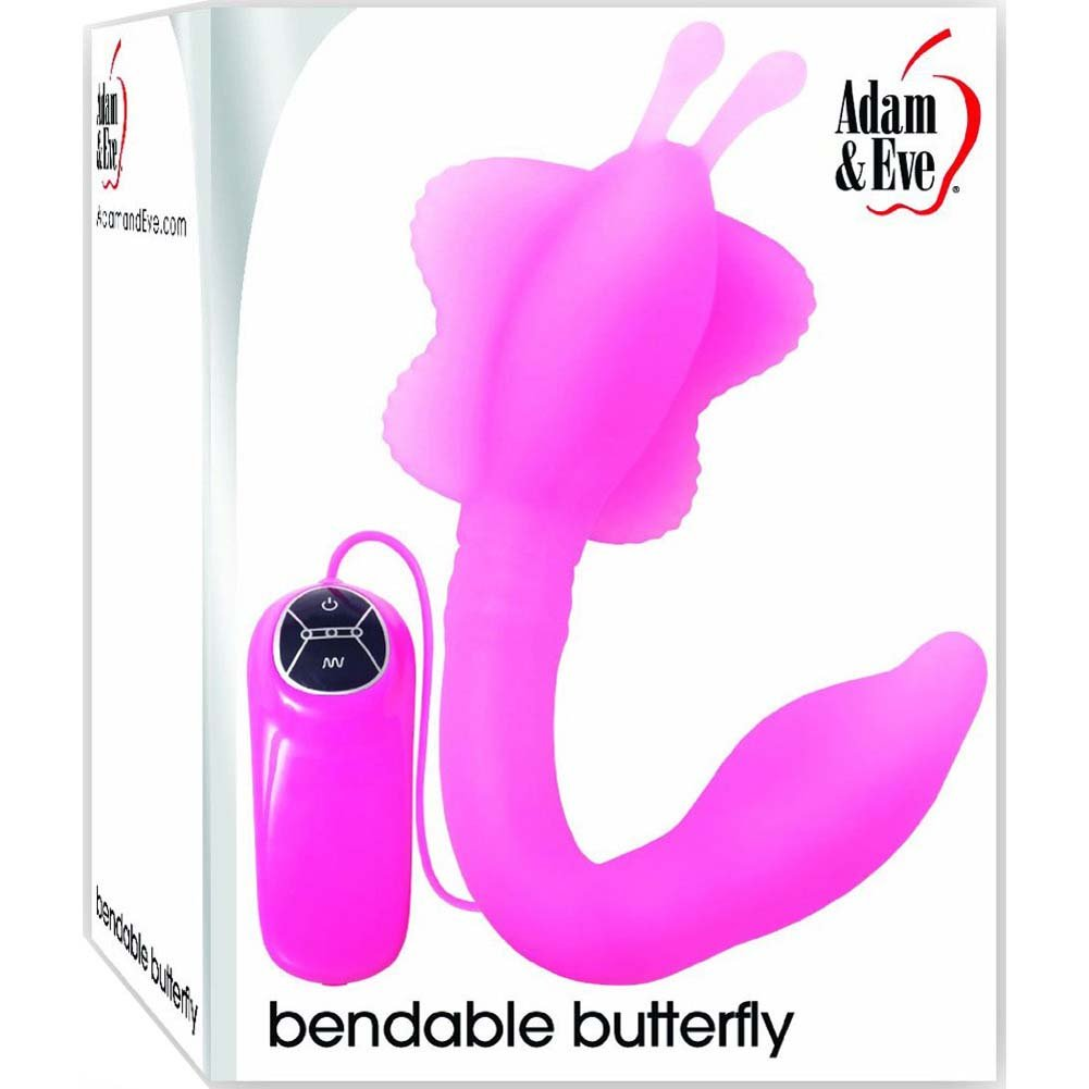 "Adam and Eve Bendable Butterfly - Silicone G-Spot Vibrator 10.5"" Pink - View #1"