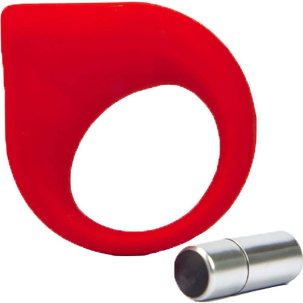 Hard On Vibrating Silicone Cock Ring Red - View #1