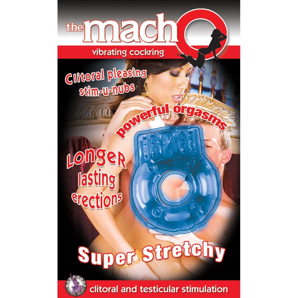 Macho Vibrating Cockring Blue - View #1