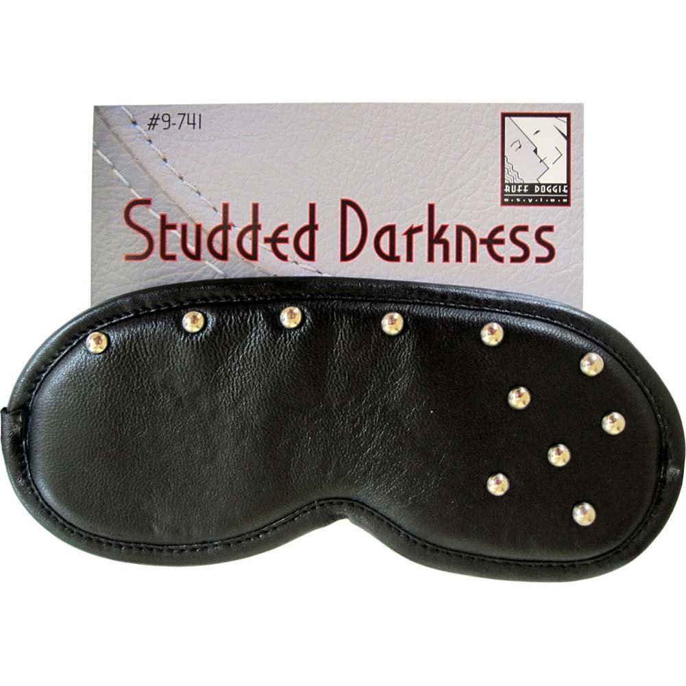 Studded Darkness Leather Blindfold Mask Black - View #3