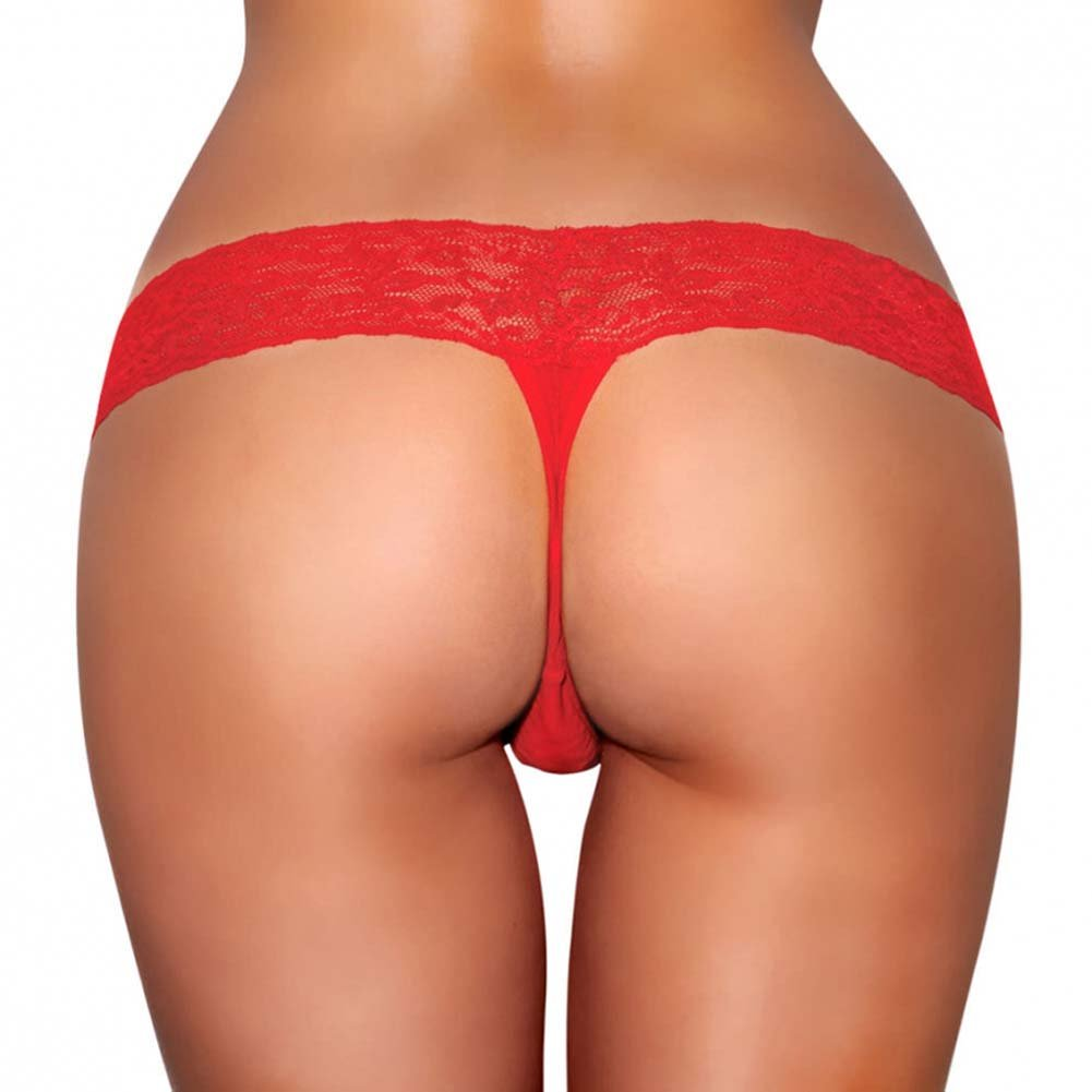 Hustler Vibrating Lace Thong with Bullet Medium/Large Red - View #2