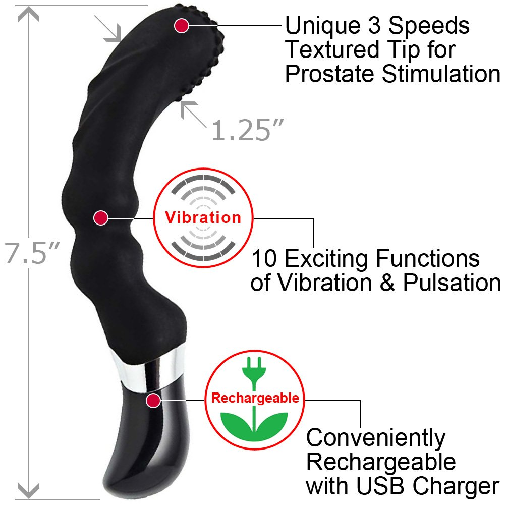 "Nu Sensuelle Homme PRO Rechargeable Prostate Massager for Men 7.5"" Black - View #1"