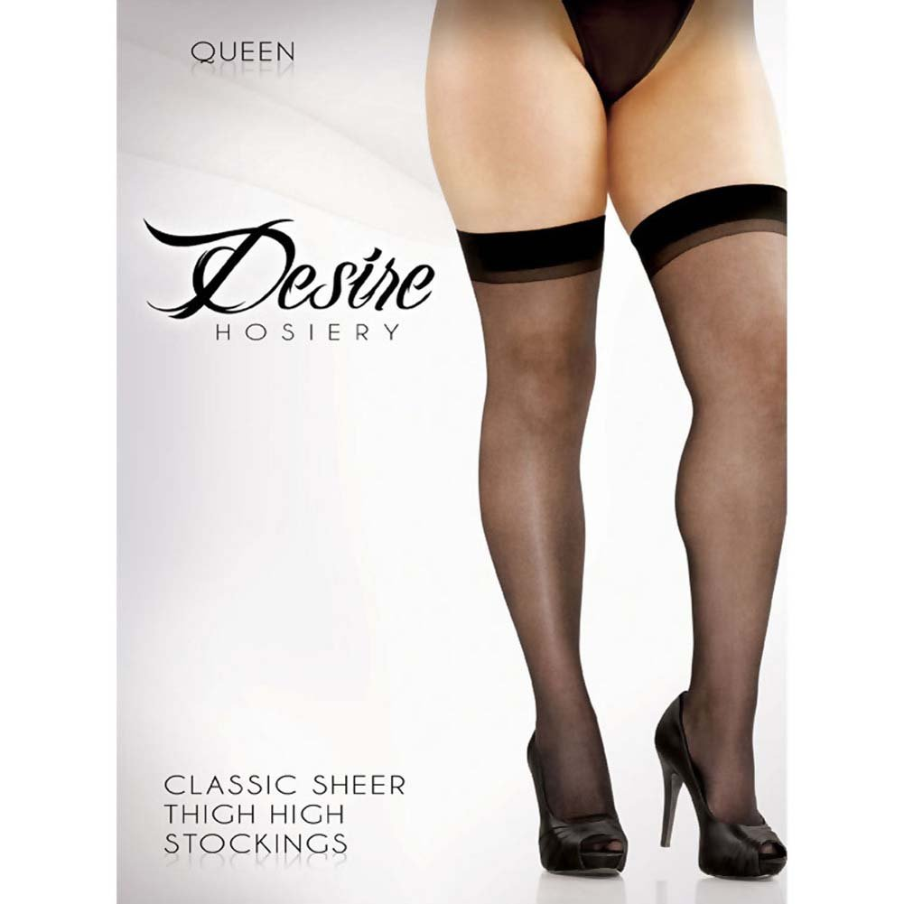 Desire Lace Top Sheer Thigh Highs Plus Size Black - View #2