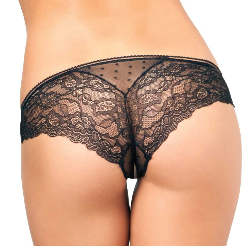 Rene Rofe Crotchless Lace N Dots Panty Medium/Large Black - View #2