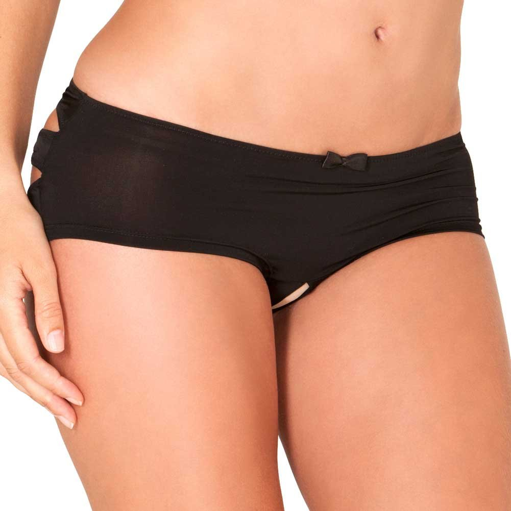 Rene Rofe Crotchless Boyshort with Lace Windows Small/Medium Black - View #1