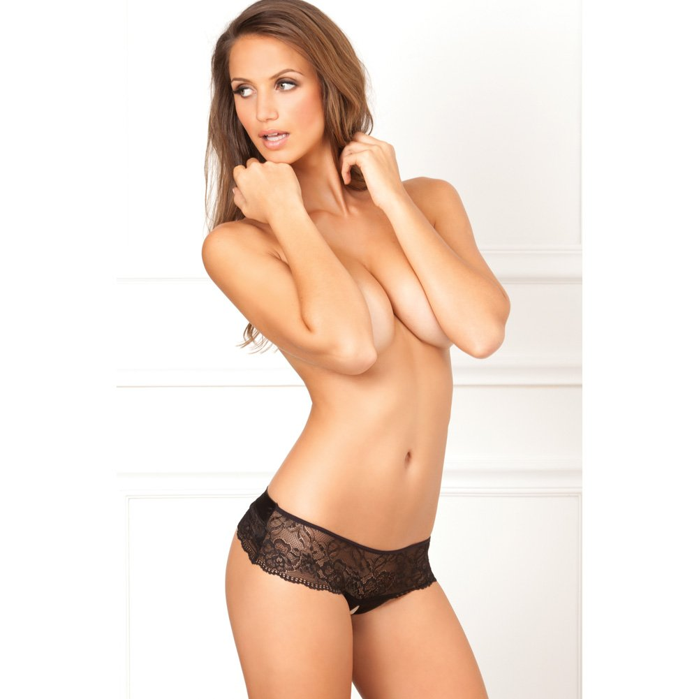 Rene Rofe Crotchless Lace Bow Back Panty Medium-Large Black - View #4