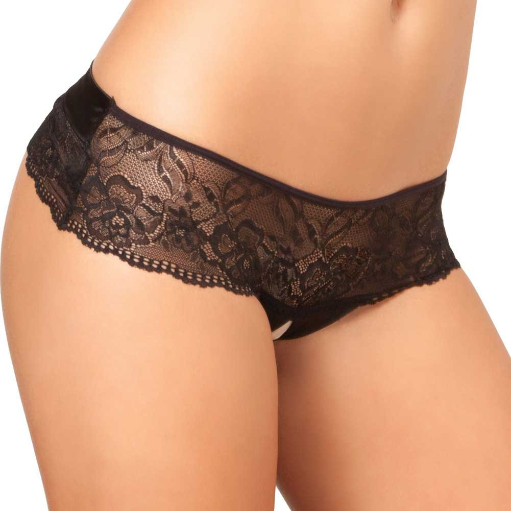Rene Rofe Crotchless Lace Bow Back Panty Small-Medium Black - View #1