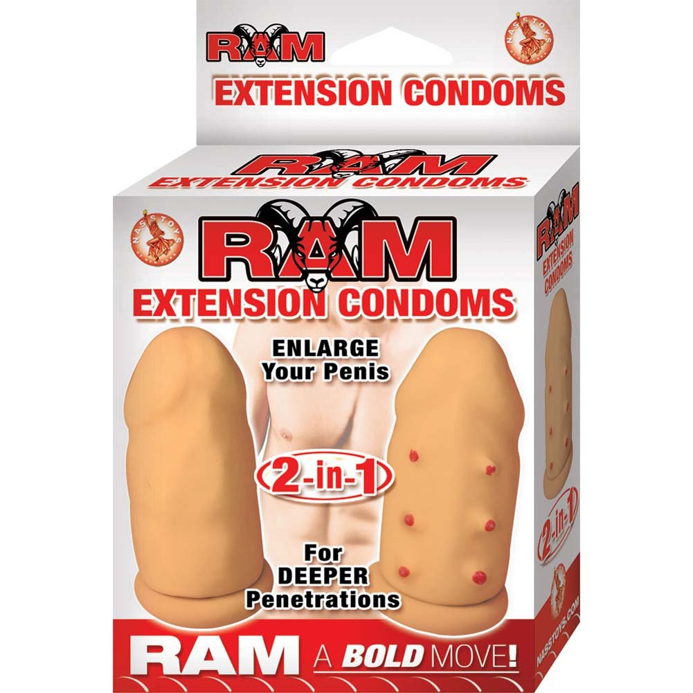 "Ram Extension Condoms 2-in-1 Set 2.75"" Natural - View #1"