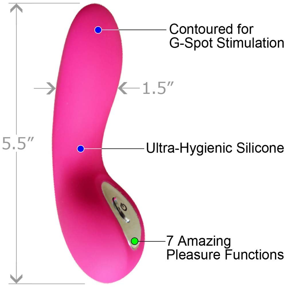"Elan Courbe USB Rechargeable Personal Silicone Vibrator 5.5"" Pink - View #1"