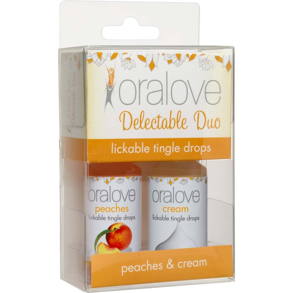 Oralove Delectable Duo Lickable Tingle Drops Peaches Cream 2-Pack - View #1