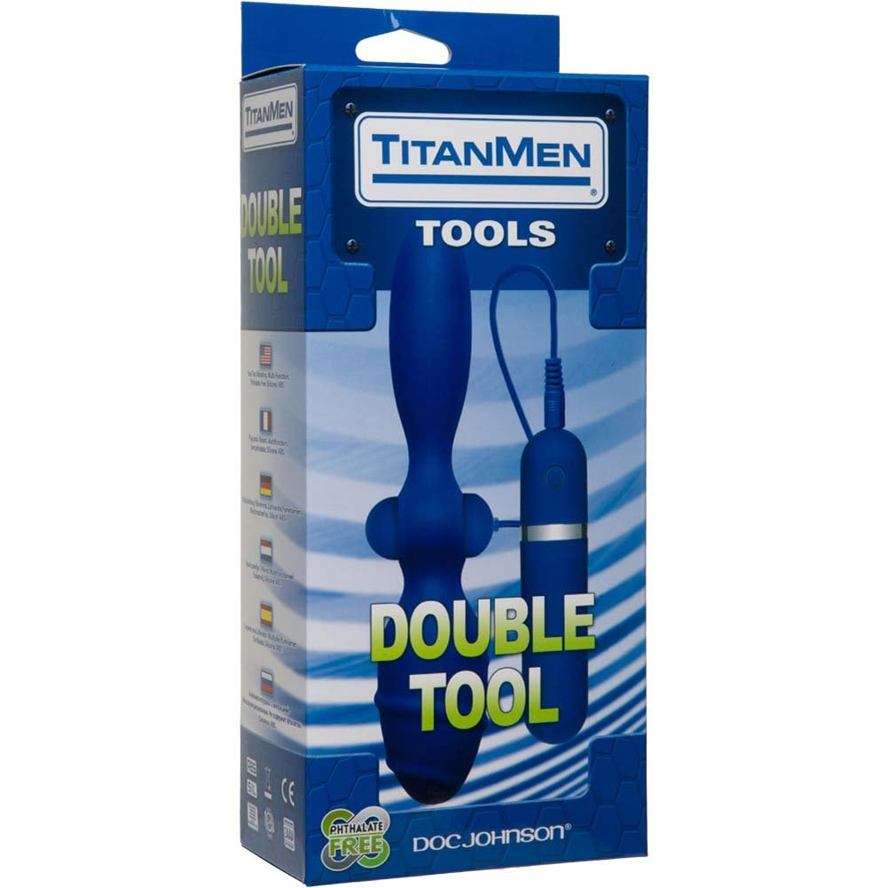 "TitanMen Double Tool - Vibrating Silicone Butt Plug 7.5"" Blue - View #1"