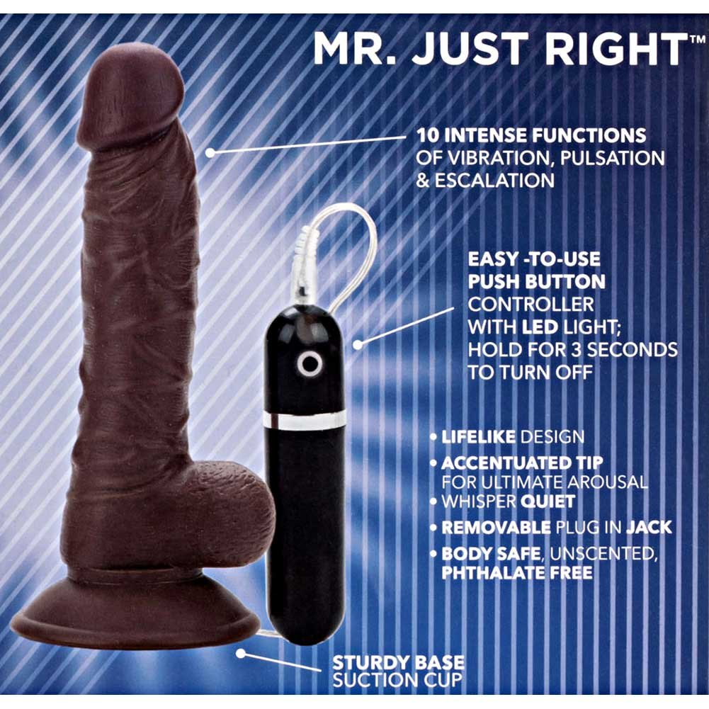 "CalExotics Mr. Just Right Super Seven Realistic Vibrator 7.5"" Ebony - View #1"