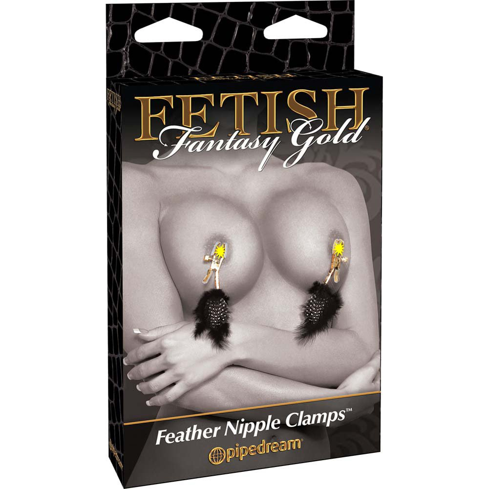 Fetish Fantasy Gold Feather Nipple Clamps Black - View #3