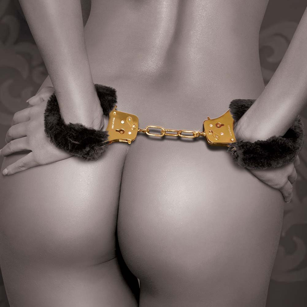Fetish Fantasy Gold Deluxe Furry Cuffs Black - View #1