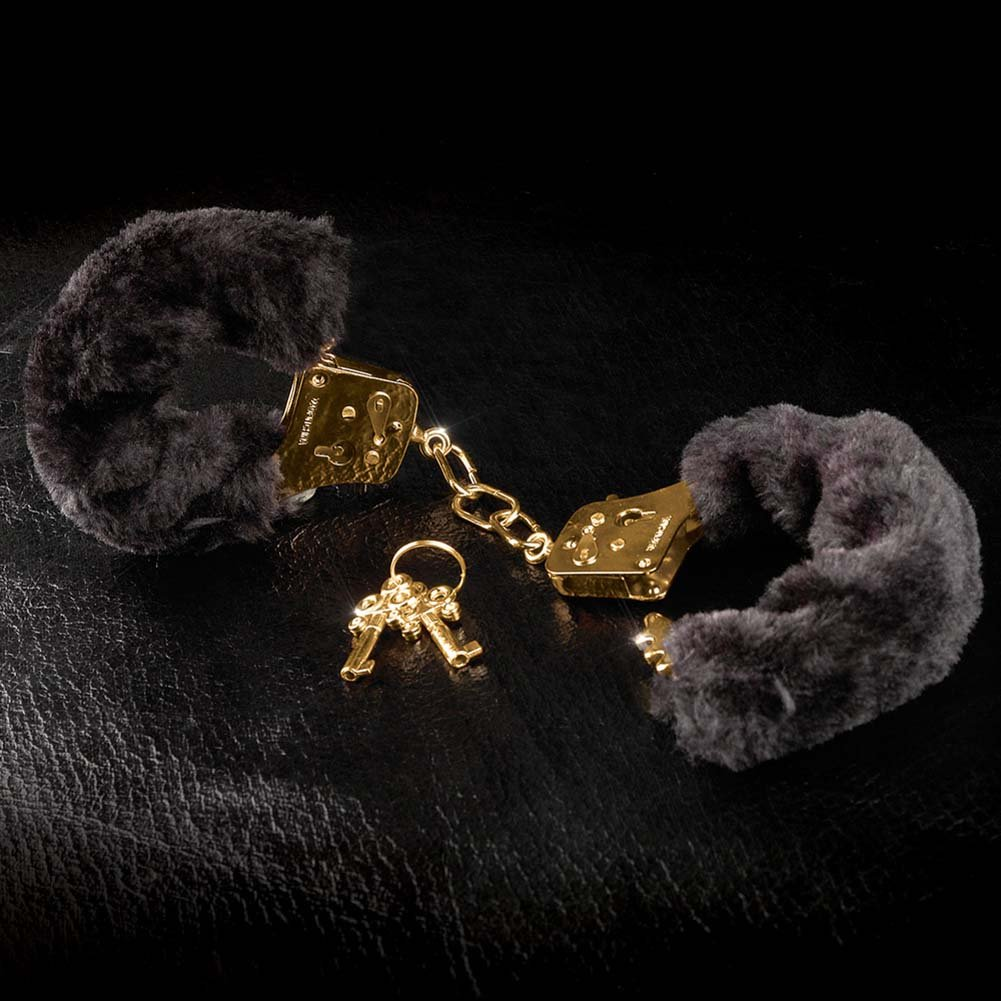 Fetish Fantasy Gold Deluxe Furry Cuffs Black - View #3