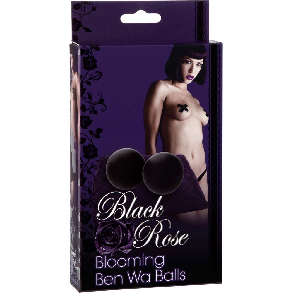 "Black Rose Blooming Silicone Ben Wa Balls 2.75"" Black - View #1"