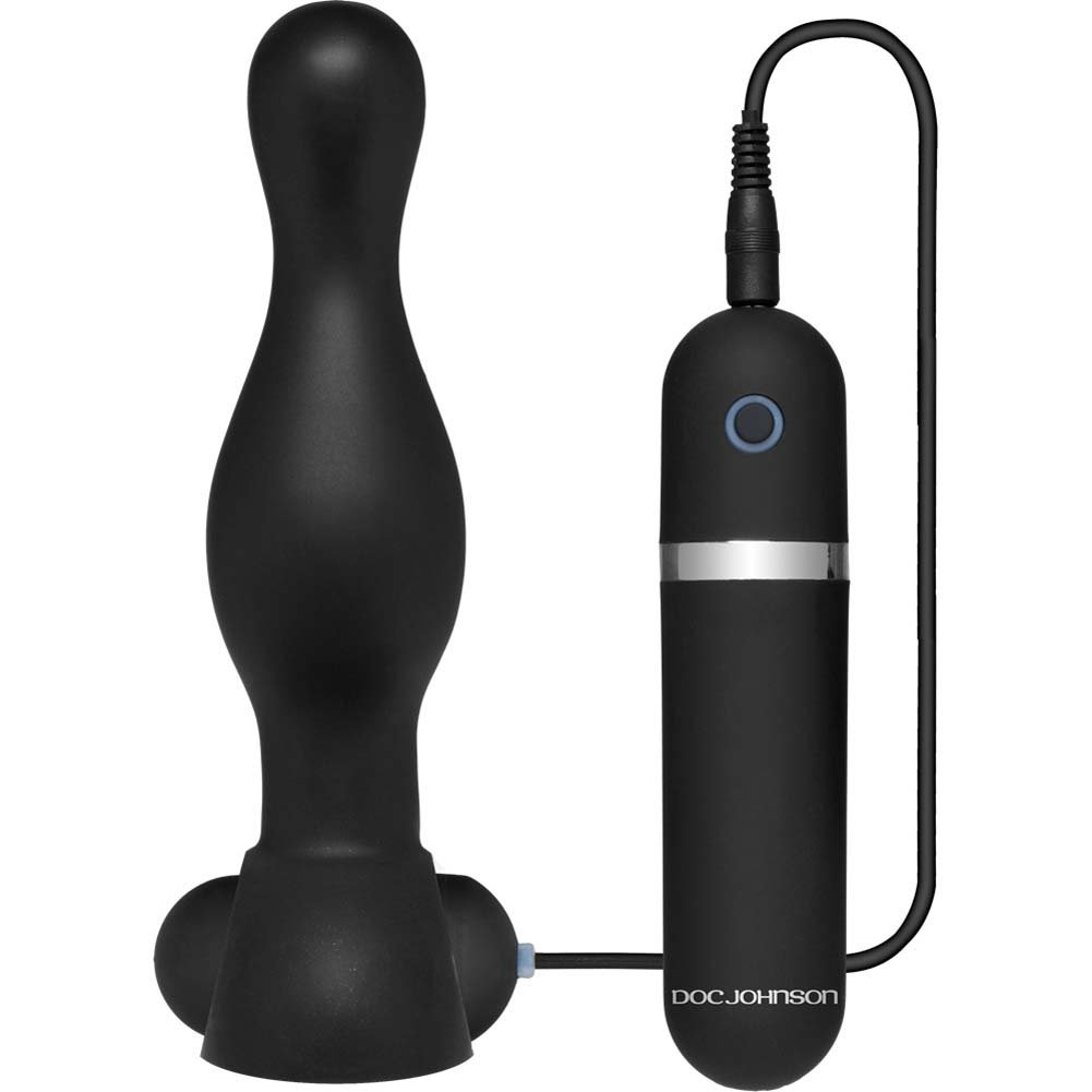 "Platinum Premium Silicone the Delight Vibrating Butt Plug 6"" Black - View #2"
