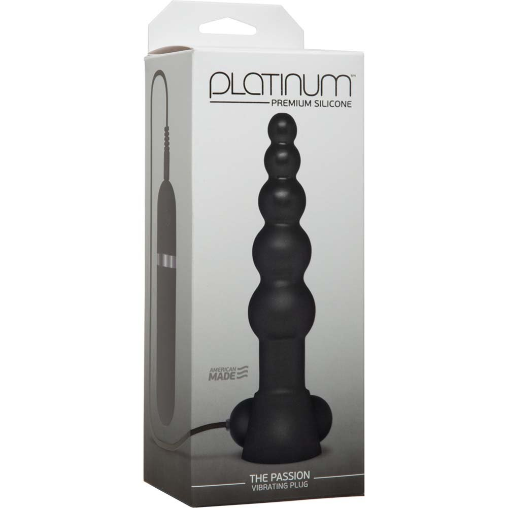 "Platinum Premium Silicone the Passion Vibrating Butt Plug 6.5"" Black - View #1"