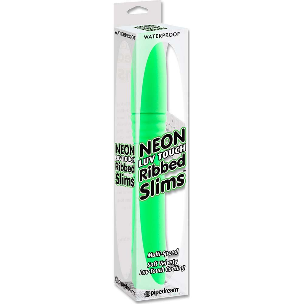 "Neon Luv Touch Ribbed Slims Vibrator 8"" Green - View #1"