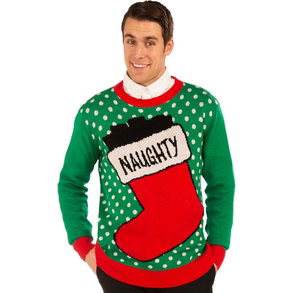 Christmas Sweater Naughty Stocking X-Large Green - View #1