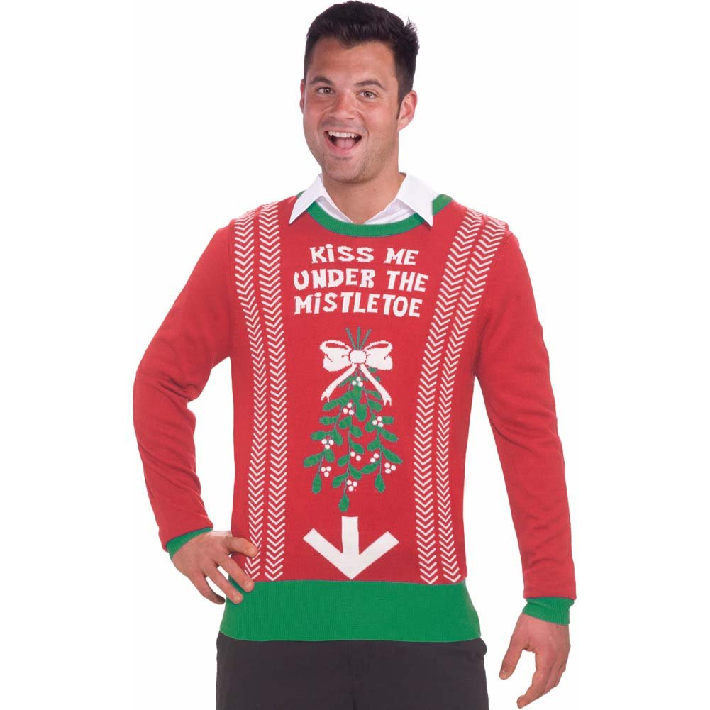 Christmas Sweater Kiss Me Under the Mistletoe X-Large Red - View #1