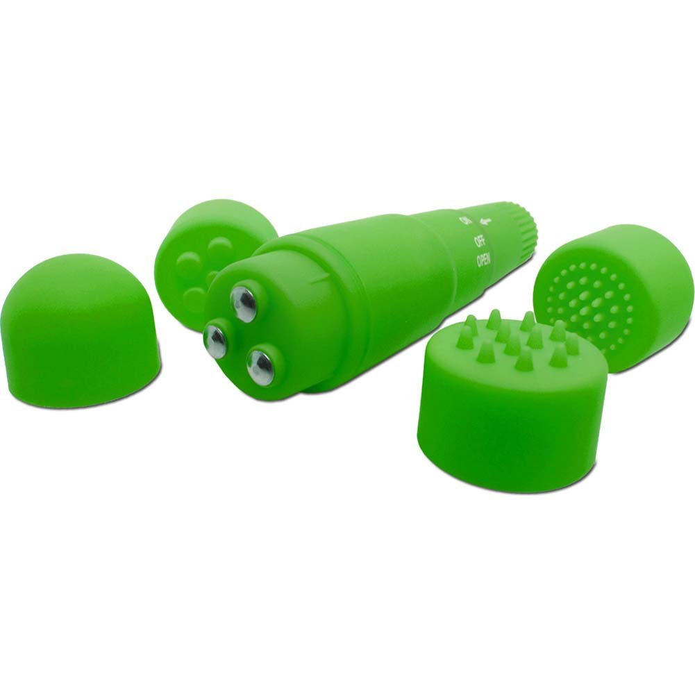 """Neon Luv Touch Mini Mite Vibrator with 4 Interchangeable Attachments 3.75"""" Green - View #2"""