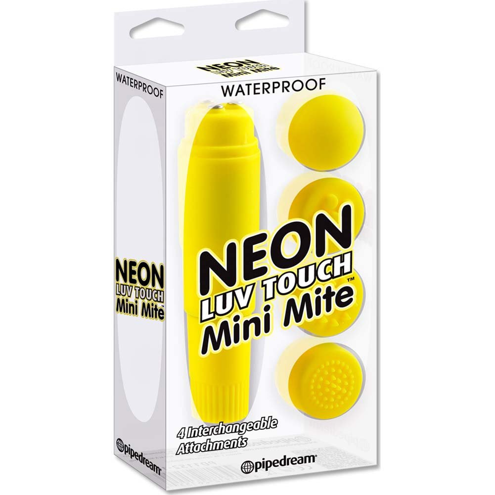 """Neon Luv Touch Mini Mite Vibrator with 4 Interchangeable Attachments 3.75"""" Yellow - View #1"""