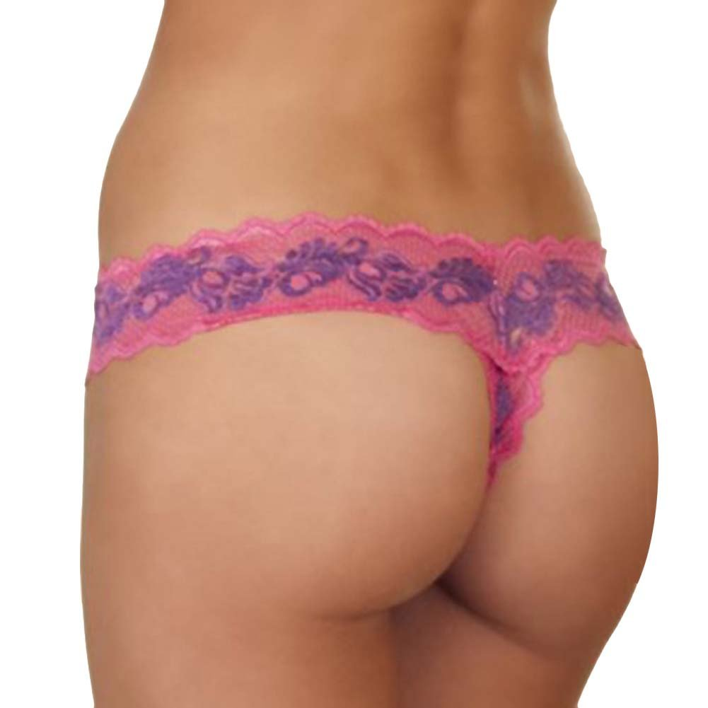 Crotchless Lace V Thong Panty with Bows Small-Medium Pink-Purple - View #2