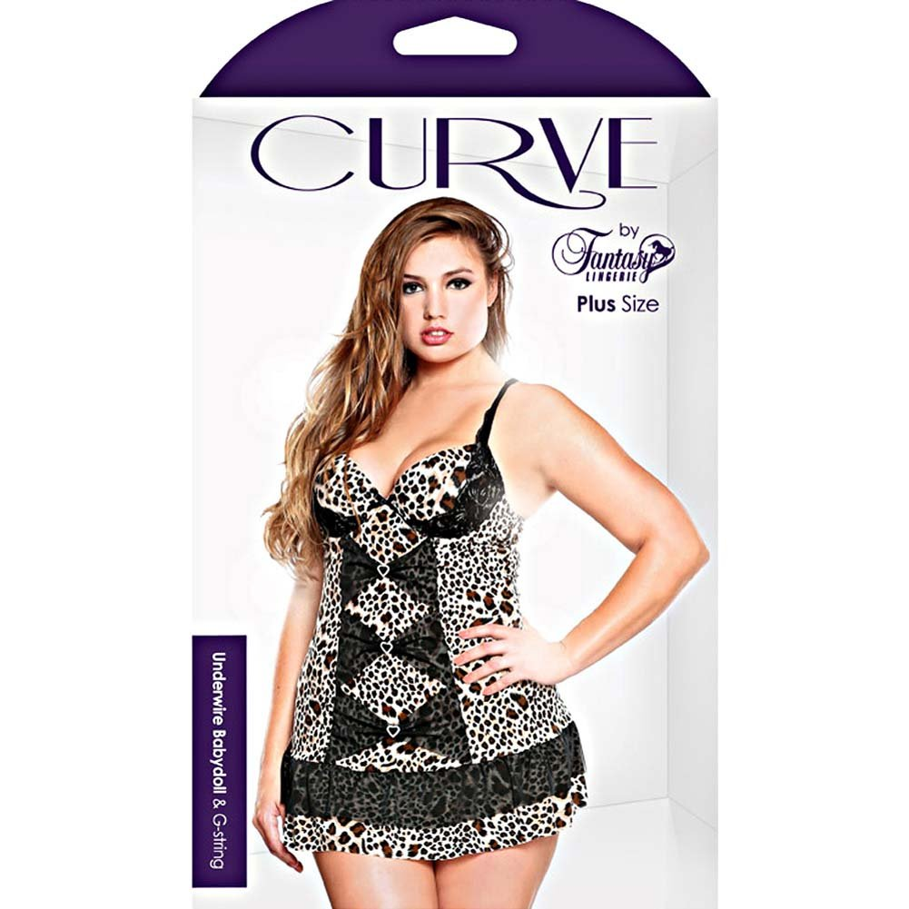 Curve Underwire Babydoll and G-String Set Plus Size 3X/4X Leopard - View #3