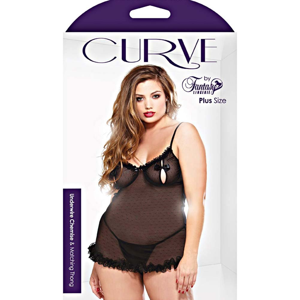 Curve Underwire Chemise and Thong Set Plus Size 1X/2X Black - View #3