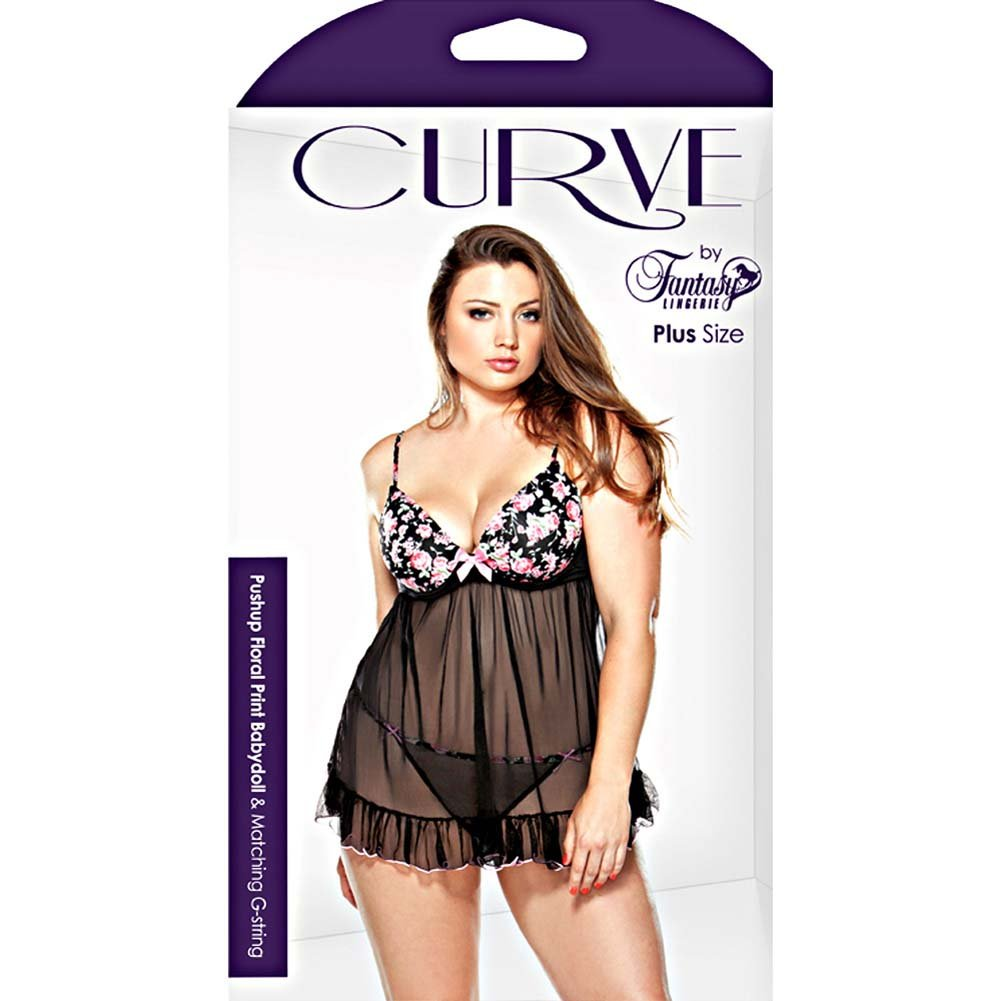 Curve PushUp Floral Babydoll and G-String Set Plus Size 1X/2X Black - View #3