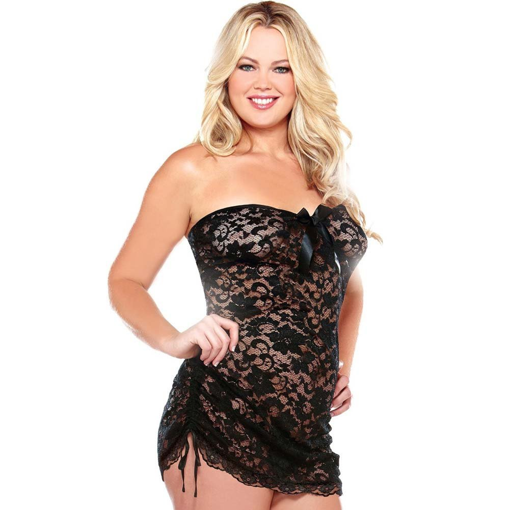 Curve Lace Strapless Dress and Matching Thong Set Plus Size 1X/2X Black - View #1